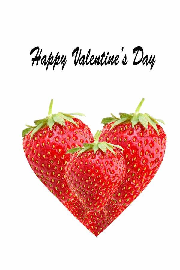 Happy Valentines Day-text Hjärt framställd av jordgubbar, isolerad på vit bakgrund royaltyfria bilder