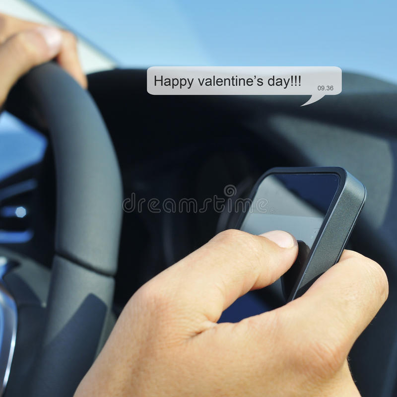 Happy valentines day in a text message royalty free stock image
