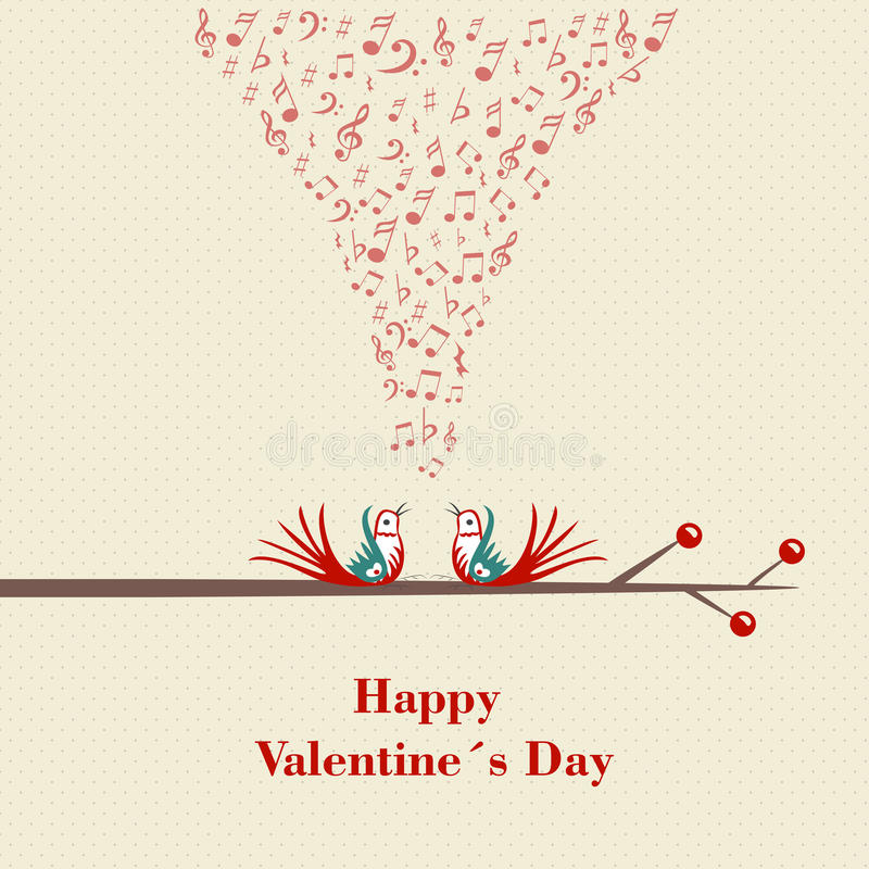 Happy Valentines Day. Two birds flirting and singing on branch. Vector. Illustration royalty free illustration