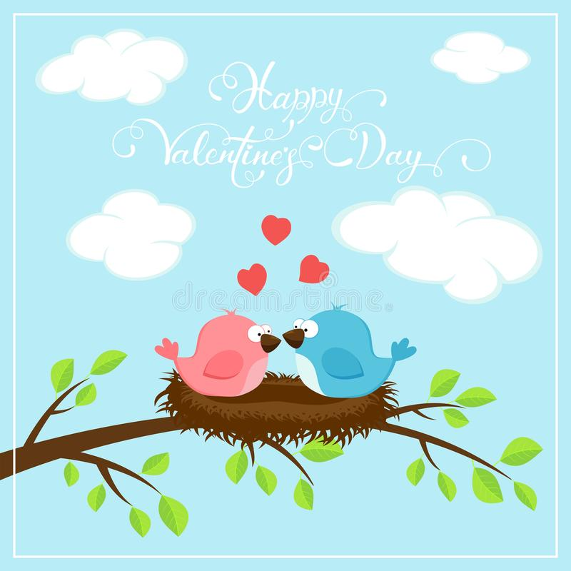 Happy Valentines Day with two birds and hearts vector illustration
