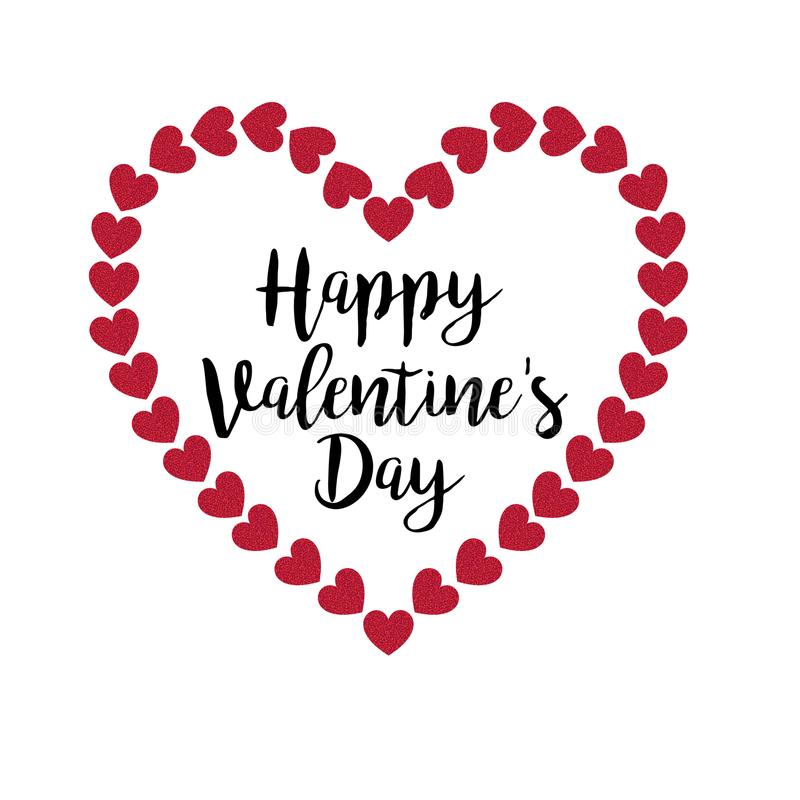 Happy valentines day typography with glitter heart frame royalty free stock images