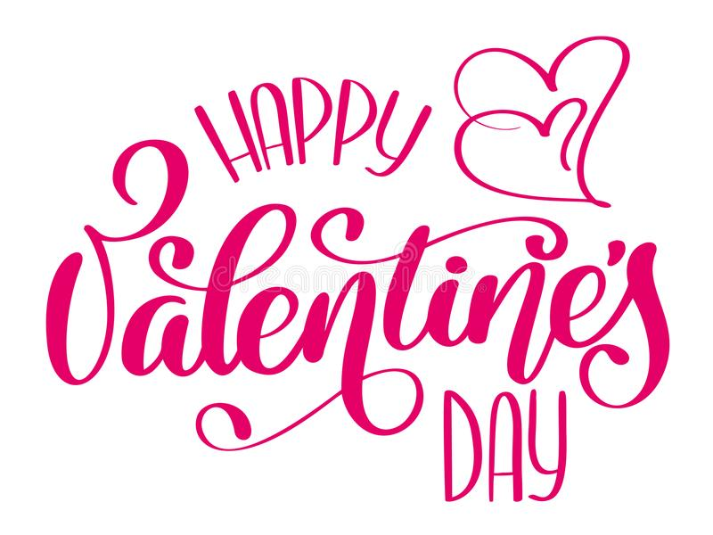 Happy Valentines Day typography poster with handwritten calligraphy text, isolated on white background. Vector. Illustration vector illustration