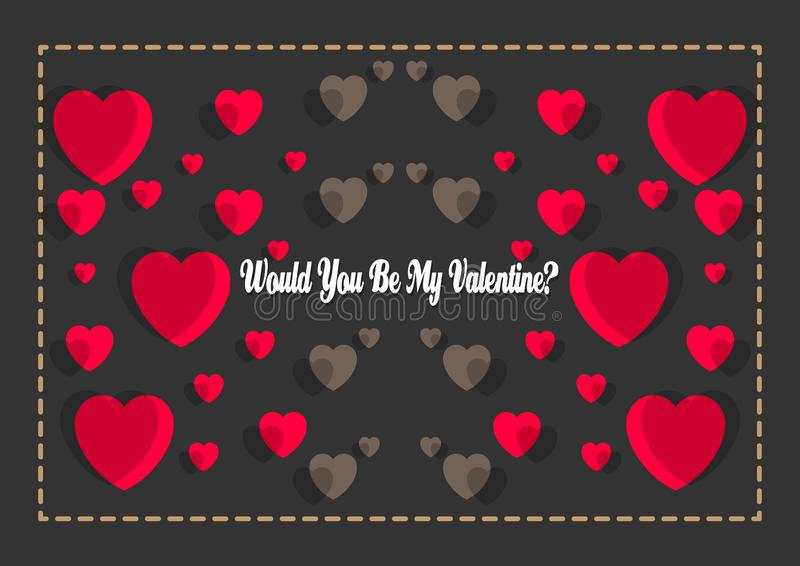 Happy Valentines Day typography poster with handwritten would you be my valentine?. Text, isolated on black background. Vector Illustration EPS 10 royalty free illustration