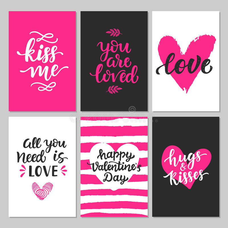 Free Happy Valentines Day Typography Set With Hand Drawn Lettering Stock Images - 85036504