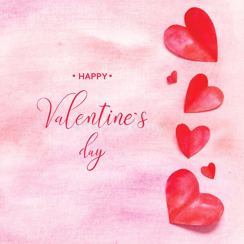 Valentine`s Day greeting card. Watercolor hearts and background royalty free illustration