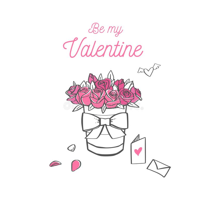 Happy Valentines day vector card. Doodle sketch royalty free illustration