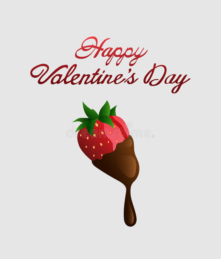 Happy valentines day vector with chocolate strawberry. Digitally generated Happy valentines day vector with chocolate strawberry stock illustration