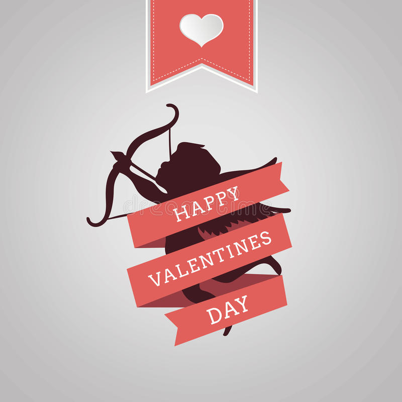 Happy Valentines Day vector with cupid. Digitally generated Happy valentines day vector in cursive font royalty free illustration