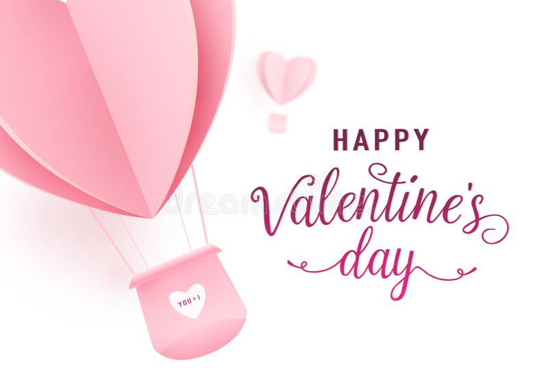 Happy valentines day vector design with paper cut pink heart shape hot air balloons flying on white background. Holiday vector illustration