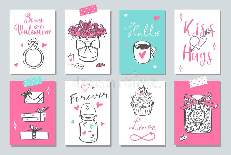 Happy Valentines day vector doodle set, banners, posters, tags, labels, background. royalty free illustration