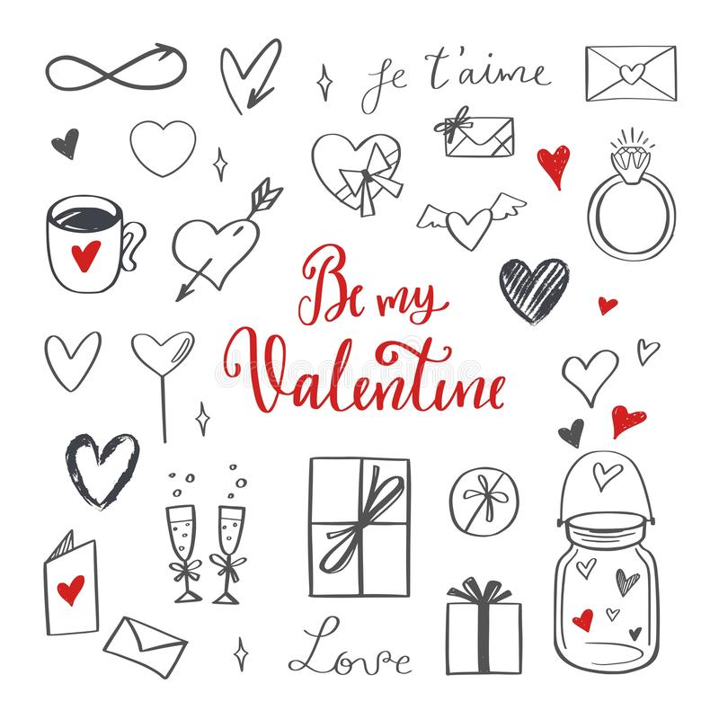 Happy Valentines day vector doodle set with Lettering vector illustration
