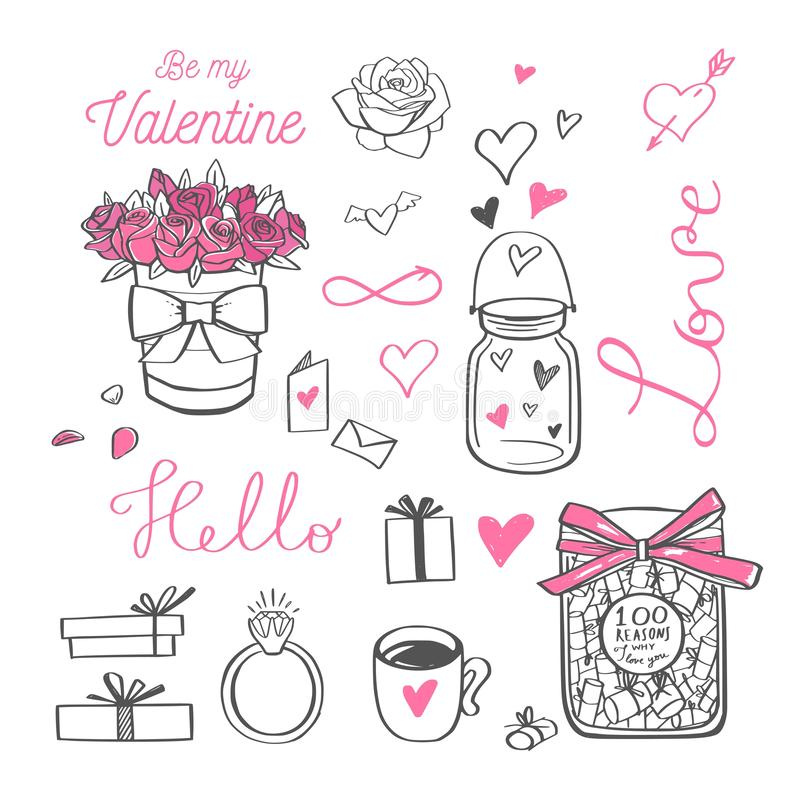 Happy Valentines day vector doodle set with Lettering royalty free illustration