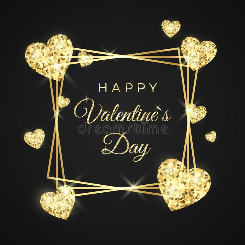 Happy Valentines day vector greeting card. Golden frame, heart and text on black background. Gold holiday banner. royalty free illustration