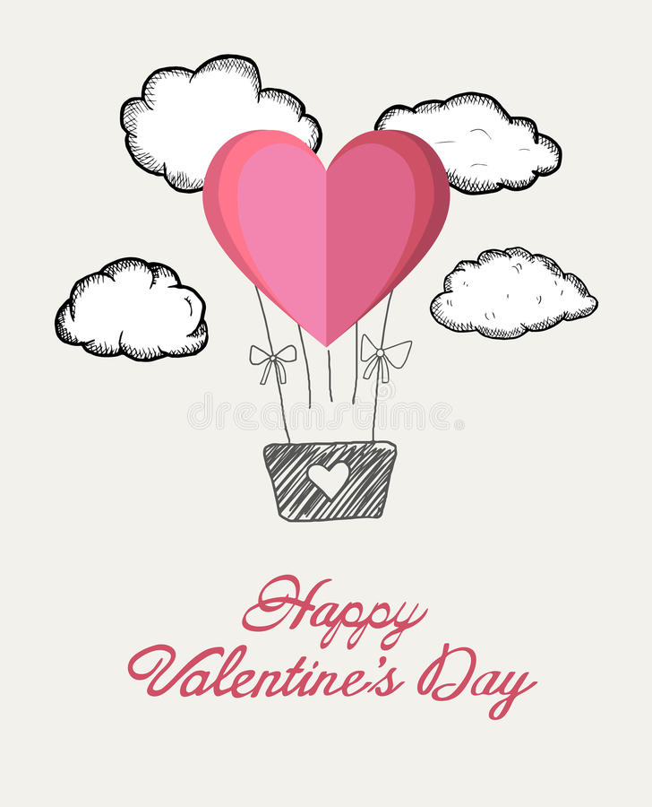 Happy valentines day vector with heart hot air balloon. Digitally generated Happy valentines day vector with heart hot air balloon stock illustration