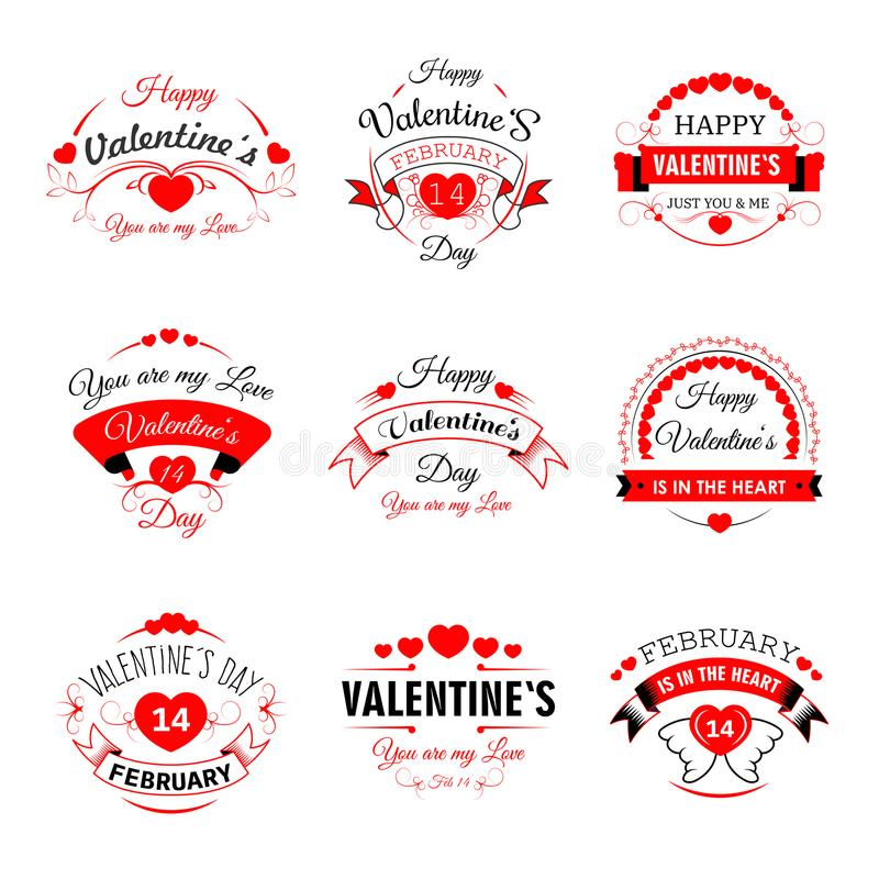 Happy Valentine Day vector heart valentines icons for greeting card design template royalty free illustration