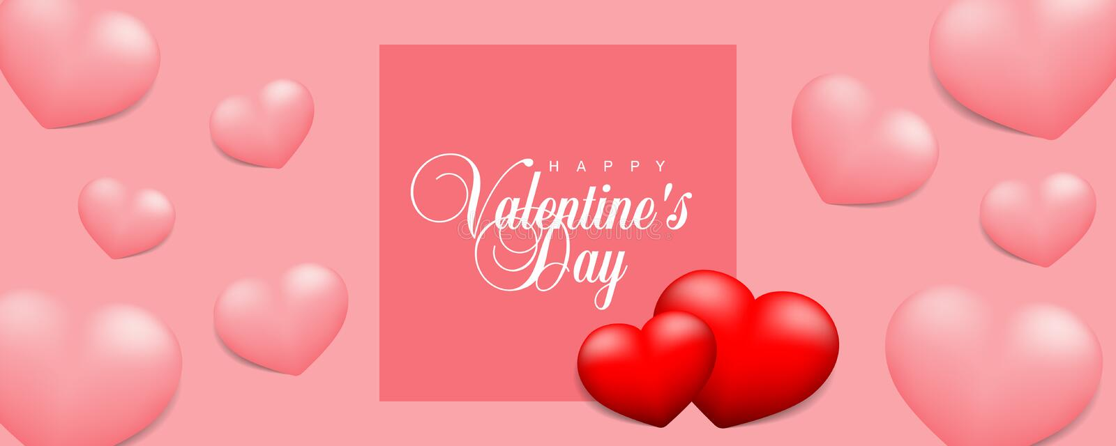 Happy Valentines Day vector illustration banner, flyer, poster, voucher, website header layout with couple red hearts and pink hea vector illustration