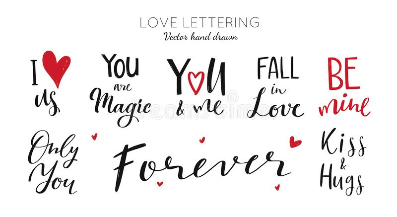 Happy Valentines day vector Lettering collection. Romantic quotes royalty free illustration