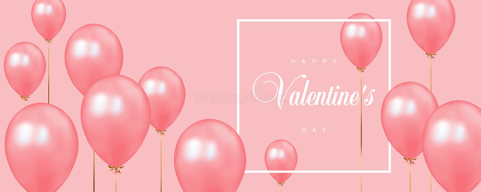 Happy Valentines Day vector template with calligraphic lettering on pink background with pink balloons. vector illustration
