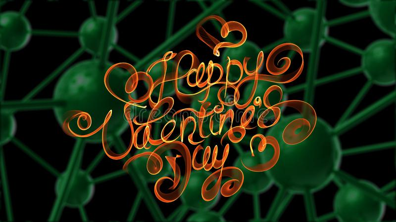 Happy Valentines day vintage lettering written by fire or orange smoke over green molecular background. 3d illustration.  stock illustration