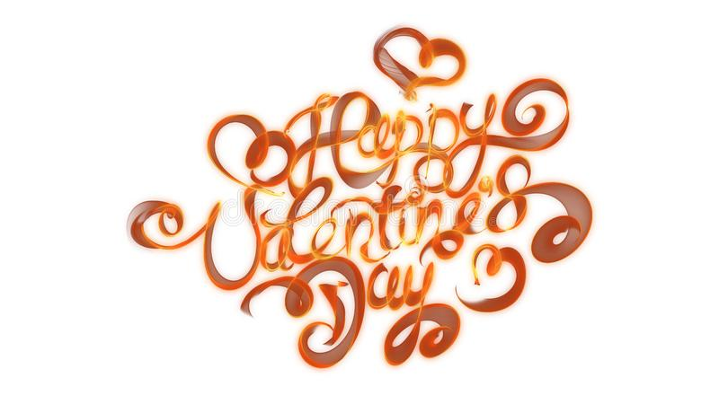 Happy Valentines day vintage lettering written by fire or orange smoke over white background.  vector illustration