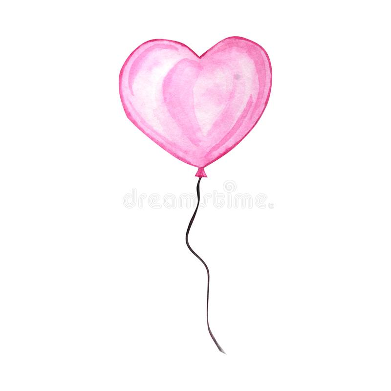 Happy Valentines Day. Watercolor hand drawn Holiday illustration of flying pink red balloon heart. Festive decoration royalty free illustration