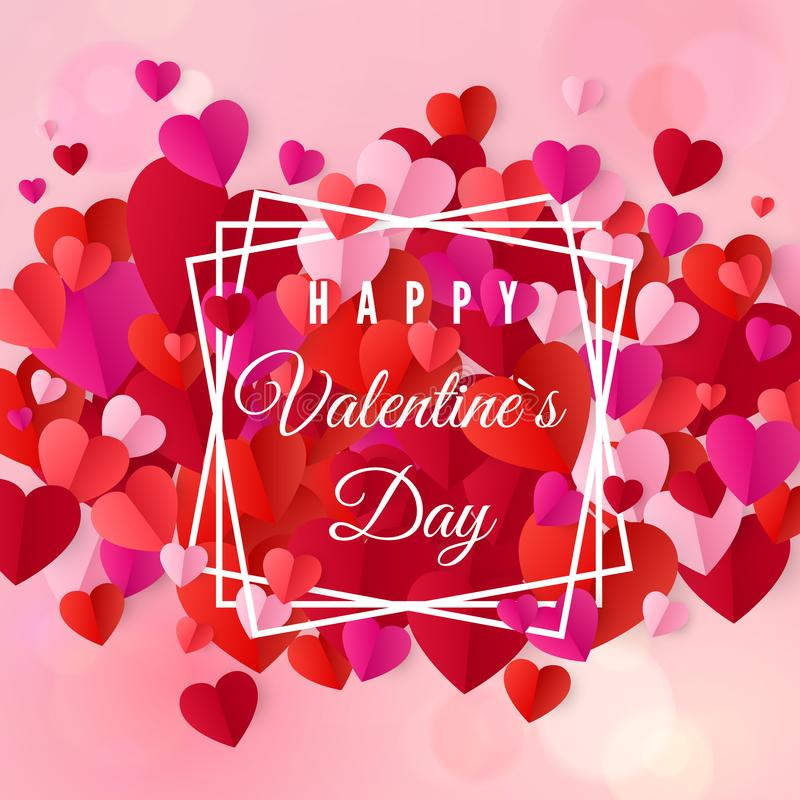 Happy valentines day and wedding design elements. Colorful Heart confetti on background. Vector illustration stock illustration