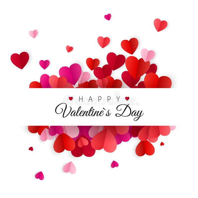 Happy Valentines Day and Wedding Design Elements. White Background Decorated by Colorful Paper Hearts. Vector illustration stock illustration