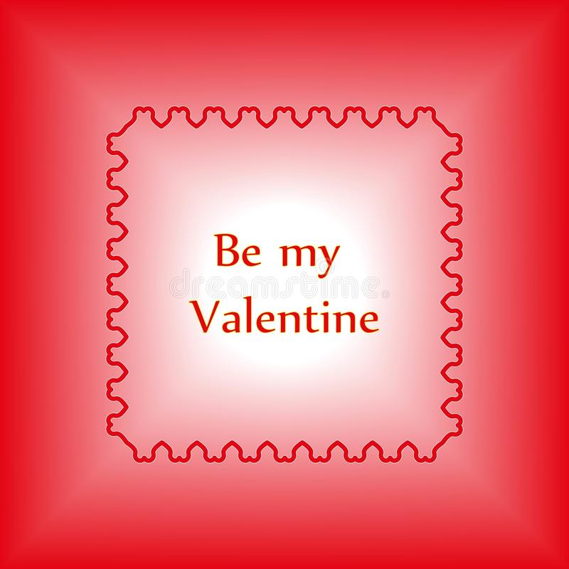 Happy valentines day and weeding design elements. Decorative frame of red hearts with text Be my Va stock illustration