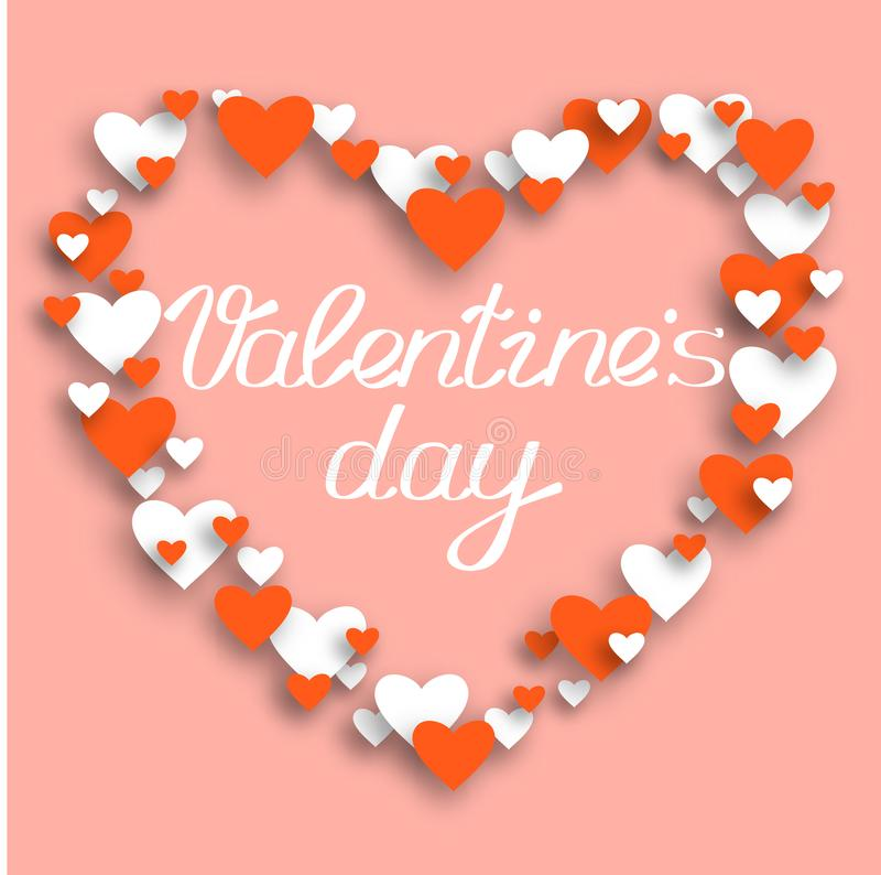 Happy valentines day and weeding design elements. Vector illustration with mesh. Frame in the shape of a heart. stock image