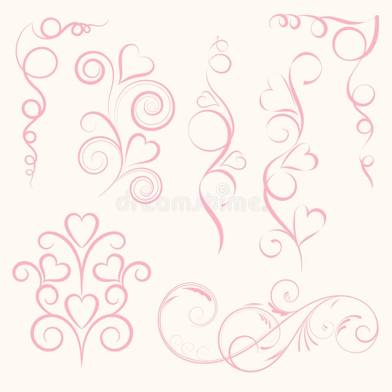 Set of abstract vertical floral pink swirl with heart on pink background. Vector illustration for greeting card. royalty free stock images