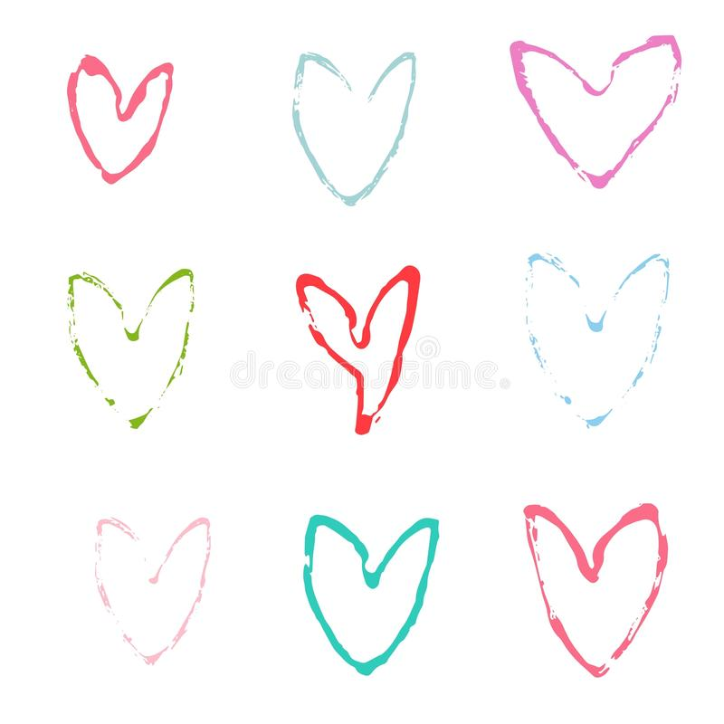 Happy valentines day and weeding design elements. Vector illustration. Hearts. royalty free illustration