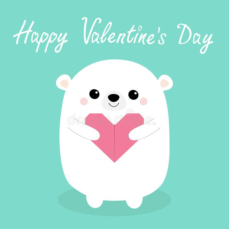 Happy Valentines Day. White baby bear head face holding pink origami paper heart. Cute cartoon kawaii funny animal character. Love. Card. Flat design. Blue stock illustration