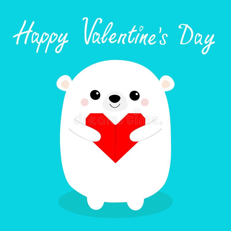 Happy Valentines Day. White baby bear head face holding red origami paper heart. Cute cartoon kawaii funny animal character. Love. Card. Flat design. Blue royalty free illustration