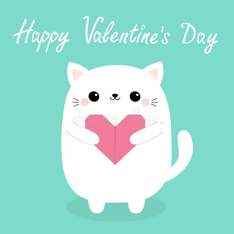 Happy Valentines Day. White baby cat kitten head face holding pink origami paper heart. Cute cartoon kawaii funny kitty animal. Character. Flat design. Love vector illustration