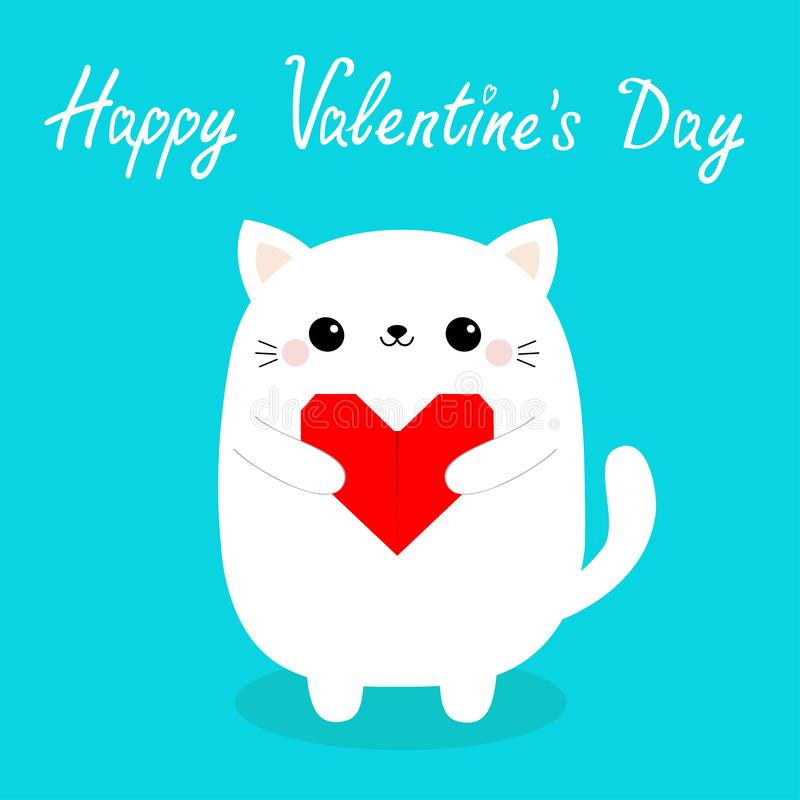 Happy Valentines Day. White baby cat kitten head face holding red origami paper heart. Cute cartoon kawaii funny kitty animal. Character. Flat design. Love card royalty free illustration