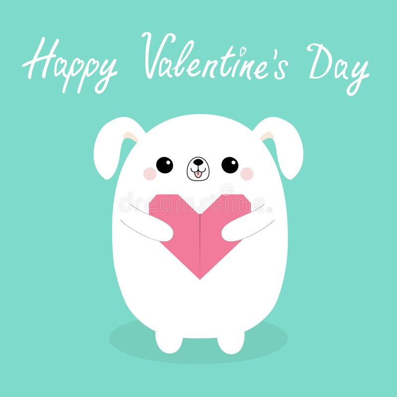 Happy Valentines Day. White baby dog puppy head face holding pink origami paper heart. Cute cartoon kawaii funny animal character. Love card. Flat design royalty free illustration
