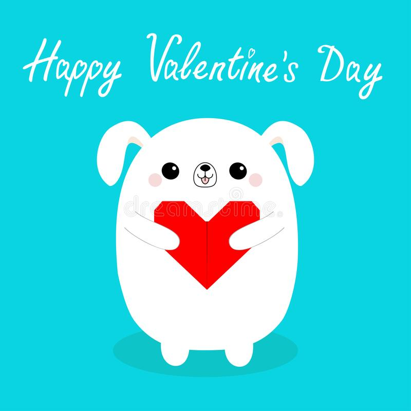 Happy Valentines Day. White baby dog puppy head face holding red origami paper heart. Cute cartoon kawaii funny animal character. Love card. Flat design vector illustration