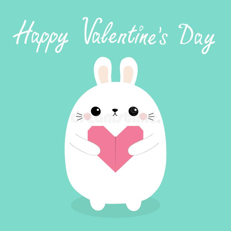 Happy Valentines Day. White baby rabbit hare puppy head face holding pink origami paper heart. Cute cartoon kawaii funny animal. Character. Love card. Flat royalty free illustration