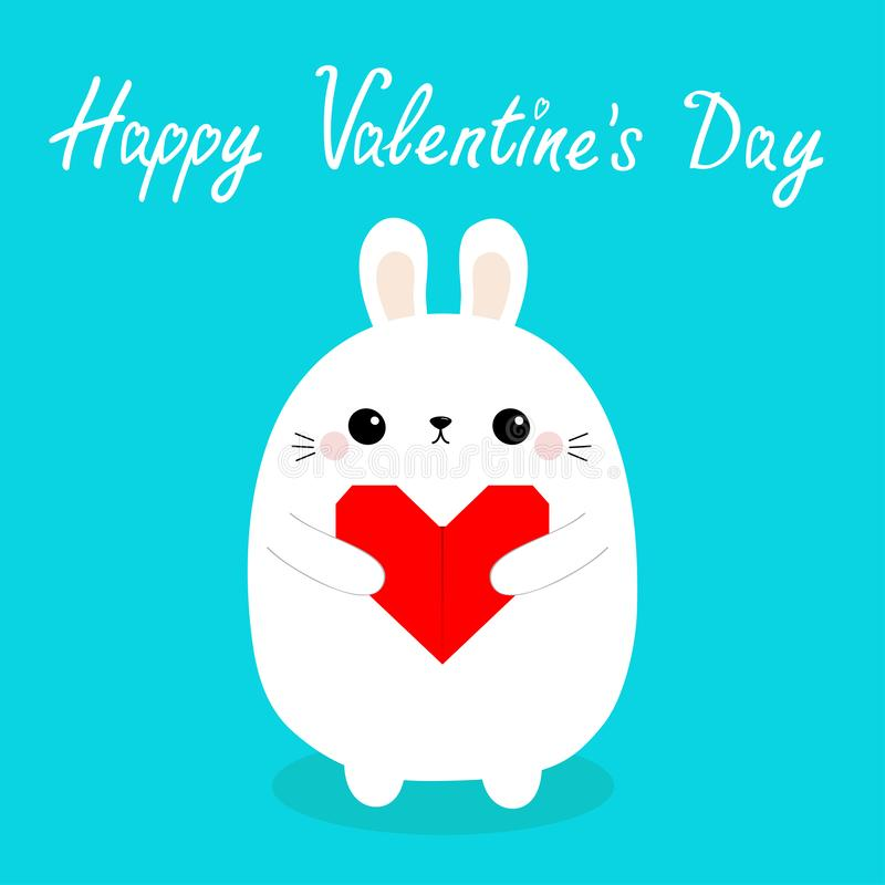 Happy Valentines Day. White baby rabbit hare puppy head face holding red origami paper heart. Cute cartoon kawaii funny animal. Character. Love card. Flat royalty free illustration