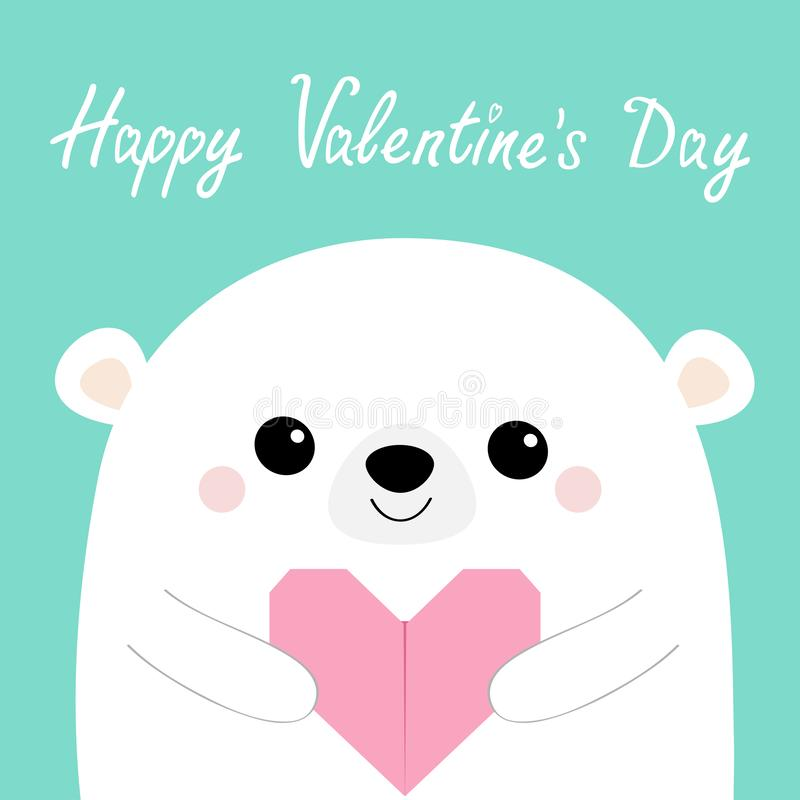 Happy Valentines Day. White bear head face holding pink origami paper heart. Cute cartoon kawaii funny baby animal character. Love. Happy Valentines Day. White royalty free illustration
