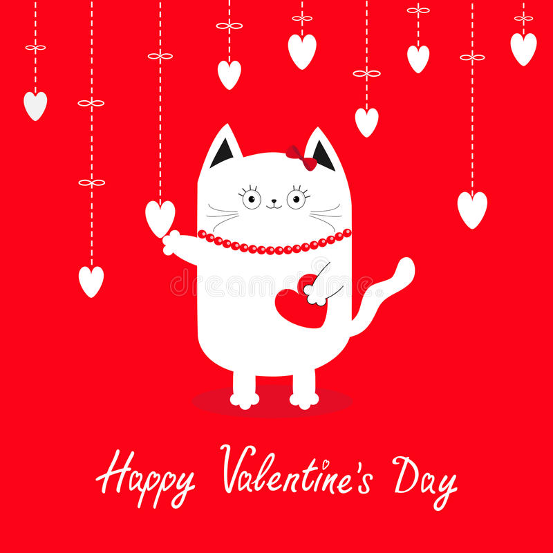 Happy Valentines Day. White cat Hanging white hearts. Dash line. royalty free illustration