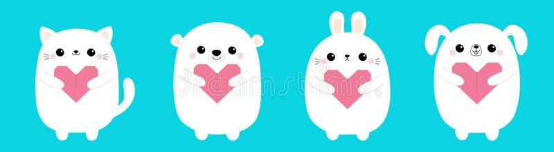 Happy Valentines Day. White cat kitten bear dog puppy rabbit hare set holding pink origami paper heart. Cute cartoon kawaii funny. Baby animal character. Love stock illustration