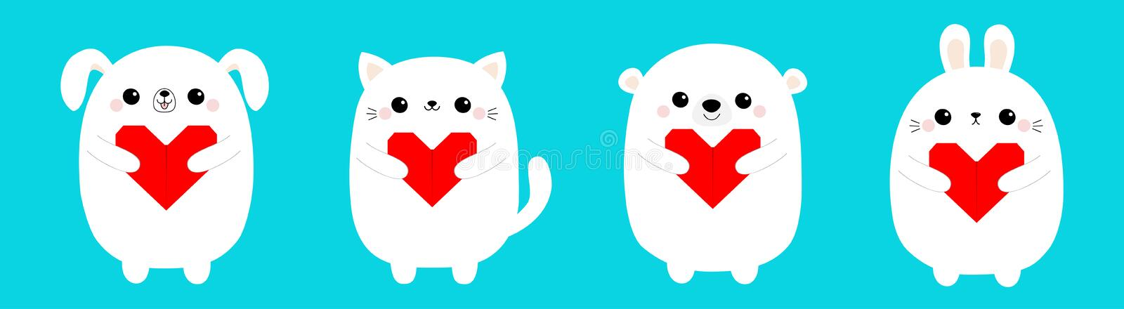 Happy Valentines Day. White cat kitten bear dog puppy rabbit hare set holding red origami paper heart. Cute cartoon kawaii funny. Baby animal character. Flat vector illustration