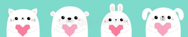 Happy Valentines Day. White cat kitten bear rabbit hare dog puppy head face set holding pink origami paper heart. Cute cartoon. Kawaii funny baby animal stock illustration