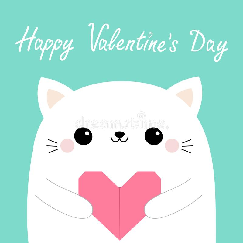 Happy Valentines Day. White cat kitten head face holding pink origami paper heart. Cute cartoon kawaii funny baby kitty animal. Character. Flat design. Love vector illustration
