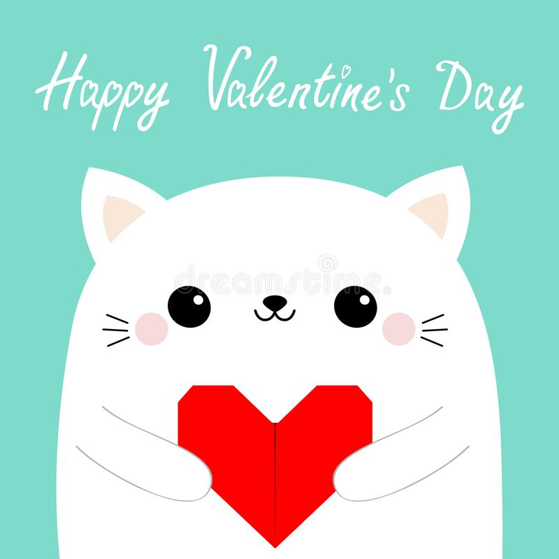 Happy Valentines Day. White cat kitten head face holding red origami paper heart. Cute cartoon kawaii funny baby kitty animal. Character. Flat design. Love card stock illustration