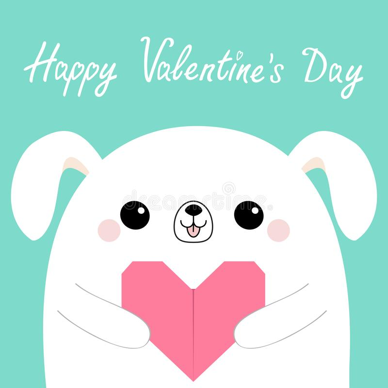 Happy Valentines Day. White dog puppy head face holding pink origami paper heart. Cute cartoon kawaii funny baby animal character. Flat design. Love card royalty free illustration