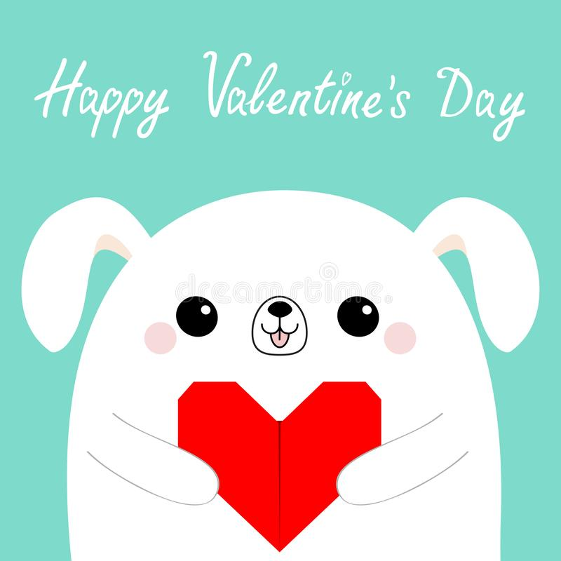 Happy Valentines Day. White dog puppy head face holding red origami paper heart. Cute cartoon kawaii funny baby animal character. Love card. Flat design royalty free illustration