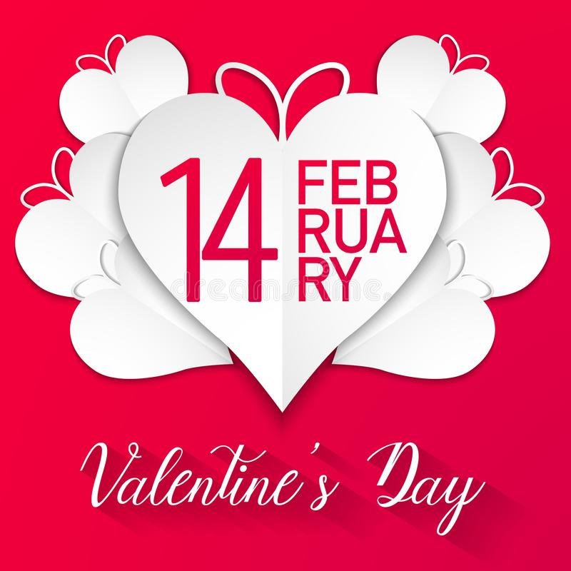Happy valentines day, white hearts with red background, vector stock illustration