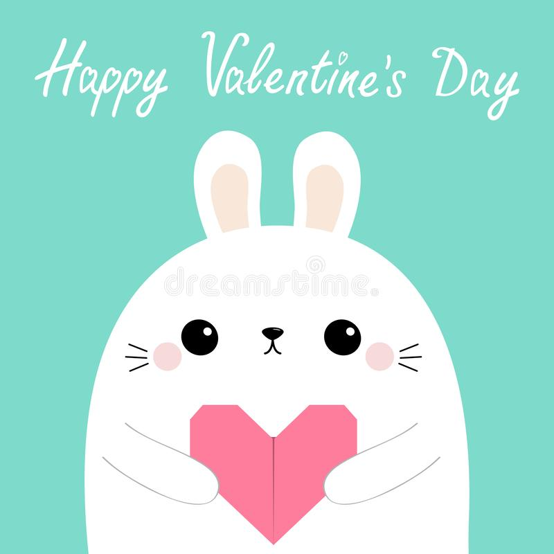 Happy Valentines Day. White rabbit hare puppy head face holding pink origami paper heart. Love card. Cute cartoon kawaii funny. Baby animal character. Flat stock illustration